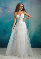 Strapless Sweetheart Neckline Beaded And Embroidered Sheath Wedding Dress With Attached Tulle Overskirt by Allure Bridals - Image 1