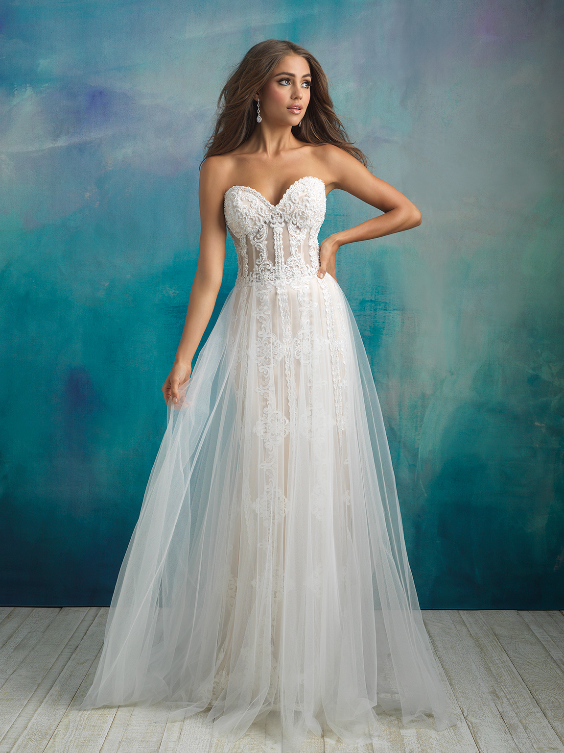 Strapless Sweetheart Neckline Beaded And Embroidered Sheath Wedding ...