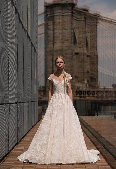 Off The Shoulder Lace Ball Gown Wedding Dress by Alyne by Rita Vinieris
