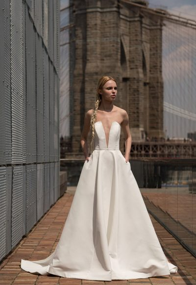 Strapless Plunging V-neck A-line Wedding Dress by Alyne by Rita Vinieris