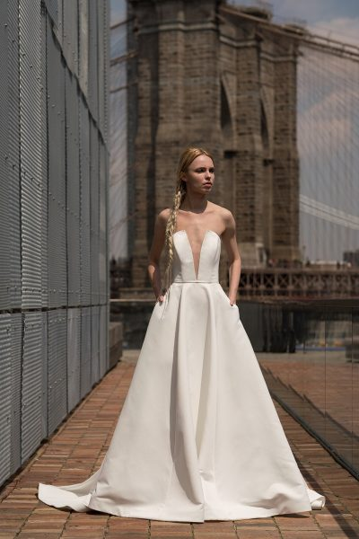 Strapless Plunging V-neck A-line Wedding Dress by Alyne by Rita Vinieris - Image 1