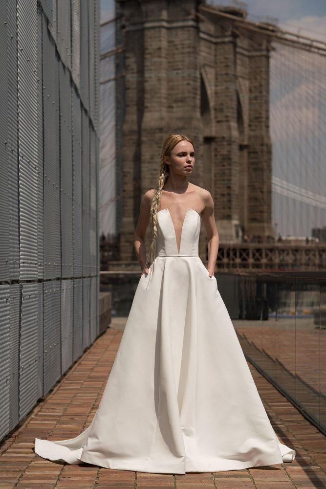 Strapless Plunging V-neck A-line Wedding Dress by Alyne by Rita Vinieris - Image 1