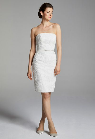 Cocktail Length Strapless Wedding Dress by Anne Barge