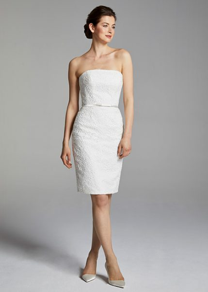 Cocktail Length Strapless Wedding Dress by Anne Barge - Image 1