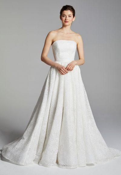 Cocktail Length Strapless Wedding Dress With Overskirt by Anne Barge