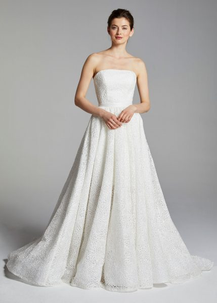 Cocktail Length Strapless Wedding Dress With Overskirt by Anne Barge - Image 1