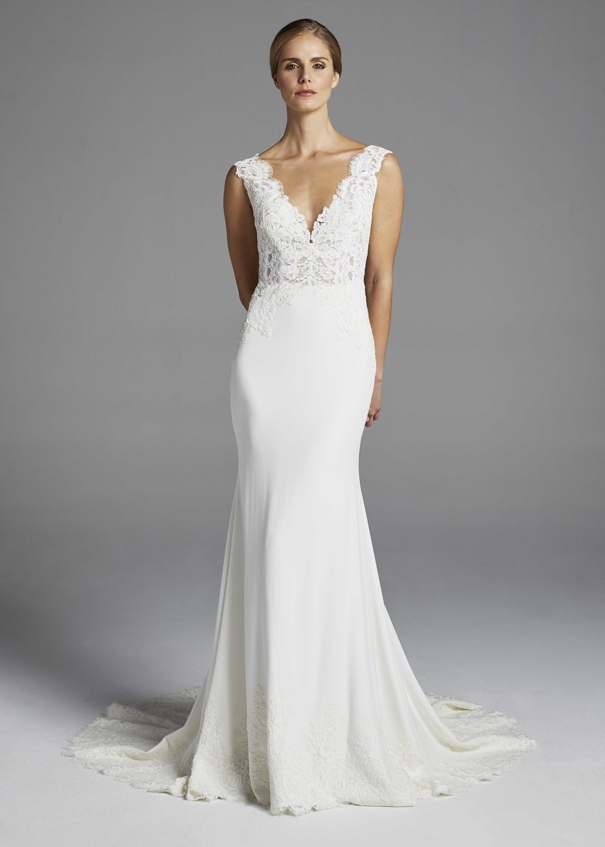 Sleeveless V Neckline Lace Bodice And Crepe Skirt Sheath Wedding