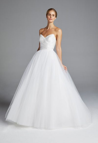 Sweetheart Neckline Ruched Bodice Tulle Skirt Ball Gown Wedding Dress by Anne Barge