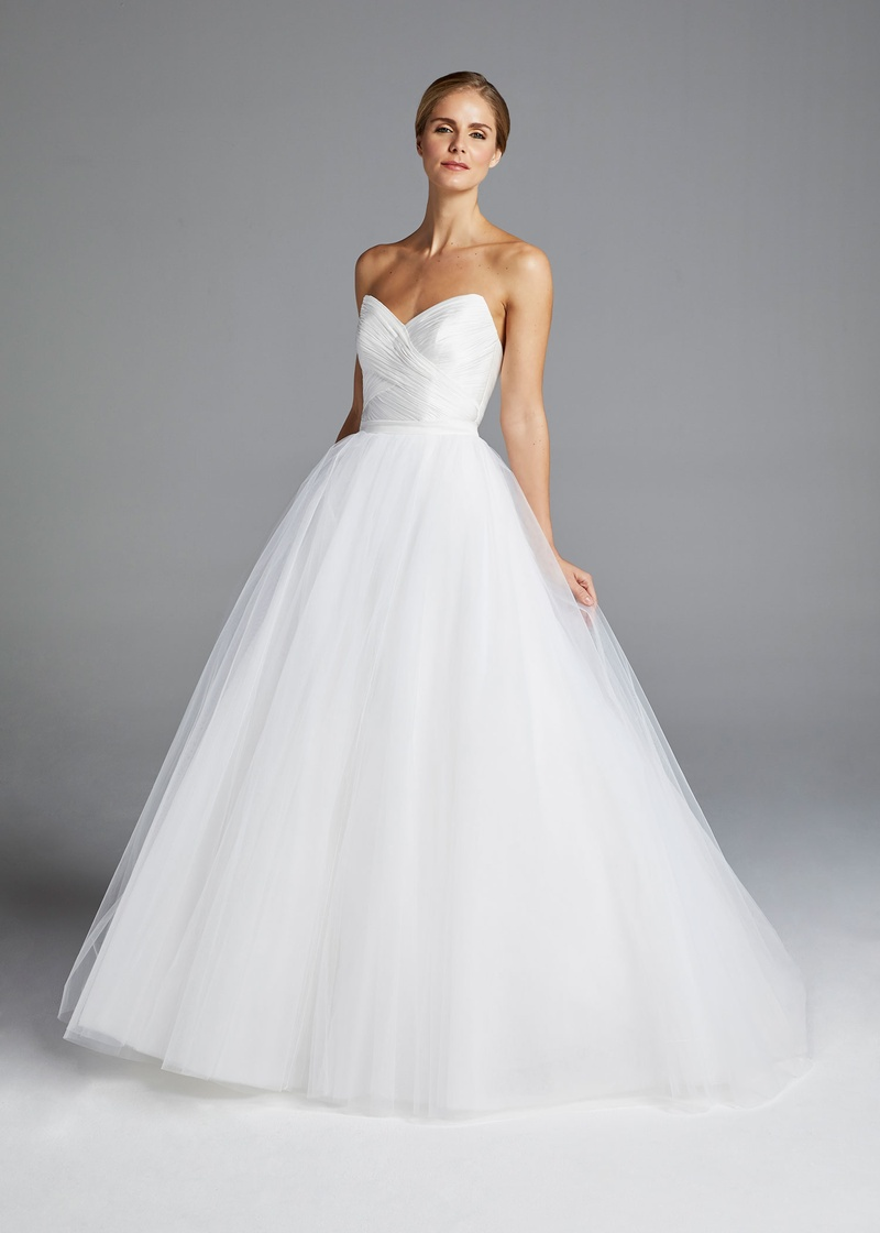 Sweetheart Neckline Ruched Bodice Tulle Skirt Ball Gown Wedding ...