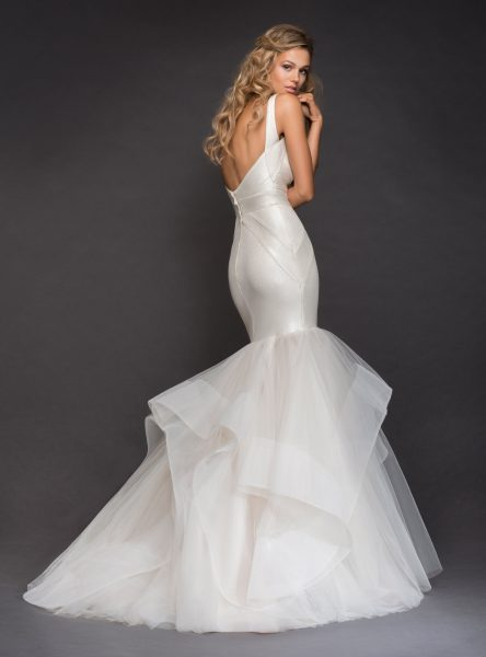 V-neckline Spaghetti Strap Bandage Knit Mermaid Wedding Dress With Horsehair Trim Ruffle Skirt by Hayley Paige - Image 2