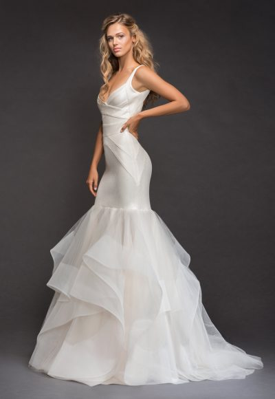 V-neckline Spaghetti Strap Bandage Knit Mermaid Wedding Dress With Horsehair Trim Ruffle Skirt by Hayley Paige