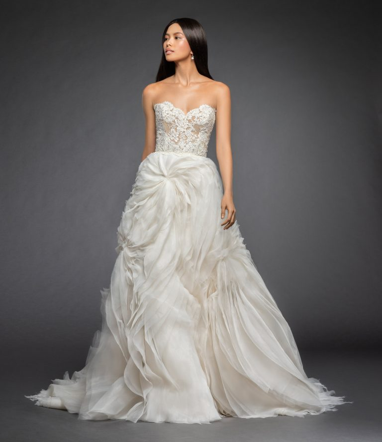 Strapless A Line Wedding Dress With Lace Bodice And Tufted Organza And Tulle Skirt by Lazaro - Image 1