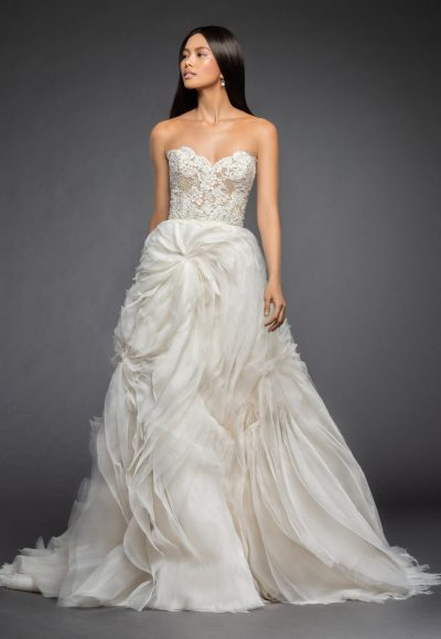 Strapless A Line Wedding Dress With Lace Bodice And Tufted Organza And Tulle Skirt by Lazaro