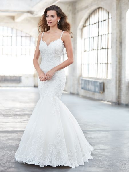 Spaghetti Strap V-neckline Beaded And Embroidered Mermaid Wedding Dress by Madison James - Image 1
