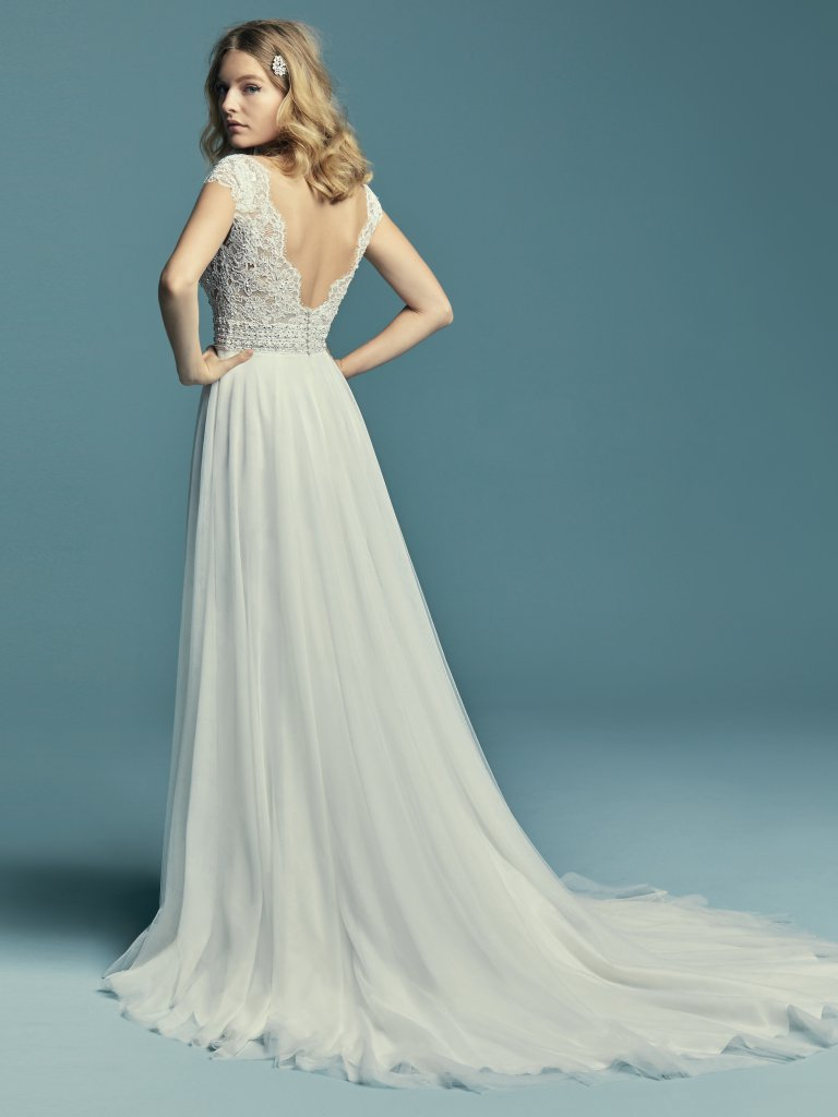 Cap Sleeve Illusion V-neck Detailed Bodice A-line Wedding Dress ...