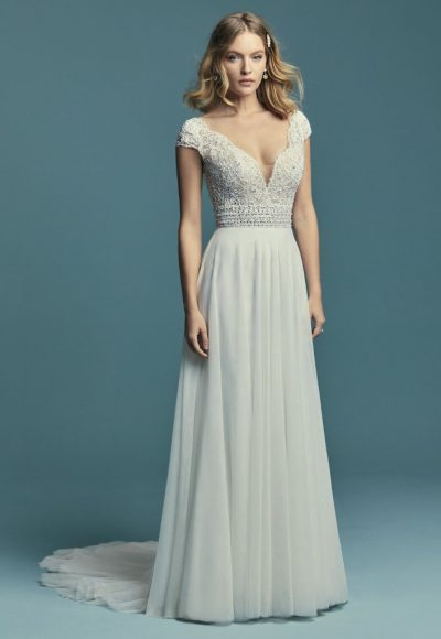 Cap Sleeve Illusion V-neck Detailed Bodice A-line Wedding Dress by Maggie Sottero