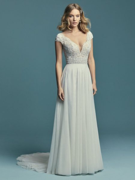 Cap Sleeve Illusion V-neck Detailed Bodice A-line Wedding Dress by Maggie Sottero - Image 1