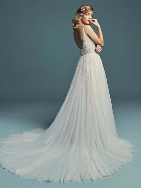 Spaghetti Strap A-line Wedding Dress With V-neckline Beaded Bodice And Tulle Skirt by Maggie Sottero - Image 2