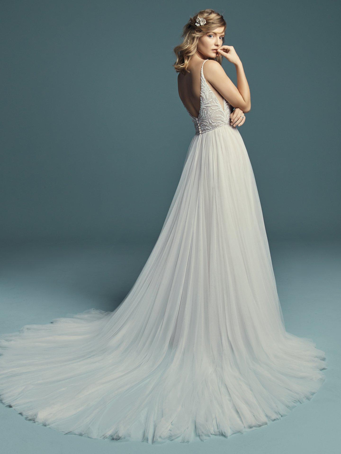 Spaghetti Strap A Line Wedding Dress With V Neckline Beaded Bodice