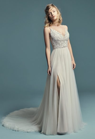 Spaghetti Strap A-line Wedding Dress With V-neckline Beaded Bodice And Tulle Skirt by Maggie Sottero
