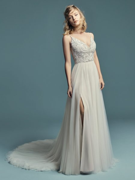 Spaghetti Strap A-line Wedding Dress With V-neckline Beaded Bodice And Tulle Skirt by Maggie Sottero - Image 1