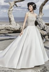 Strapless Sweetheart Sequin Bodice Satin Skirt Ballgown Wedding Dress by Maggie Sottero - Image 1