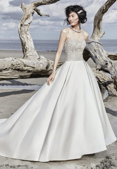 Strapless Sweetheart Sequin Bodice Satin Skirt Ballgown Wedding Dress by Maggie Sottero