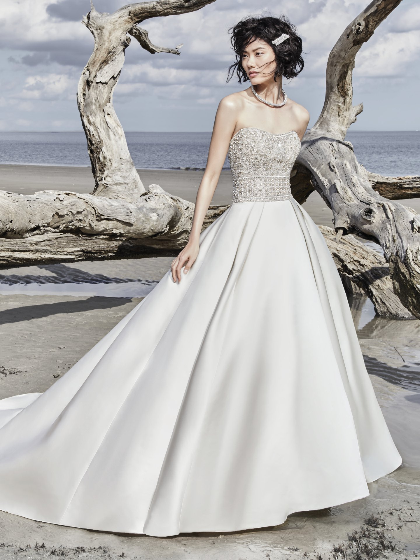Strapless Sweetheart Sequin Bodice Satin Skirt Ballgown Wedding