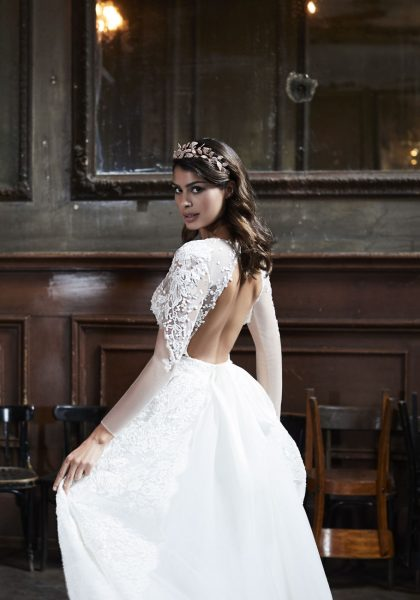 3/4 Sleeve Lace Fit And Flare Wedding Dress by Maison Signore - Image 2