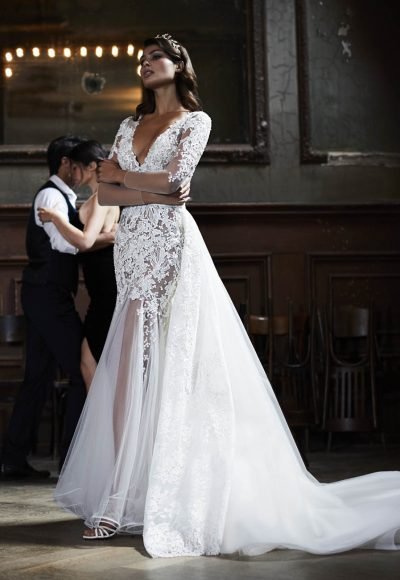 3/4 Sleeve Lace Fit And Flare Wedding Dress by Maison Signore