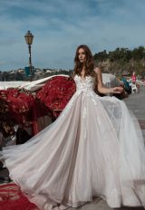 Floral Applique V-neck Bodice A-line Wedding Dress by Maison Signore - Image 1