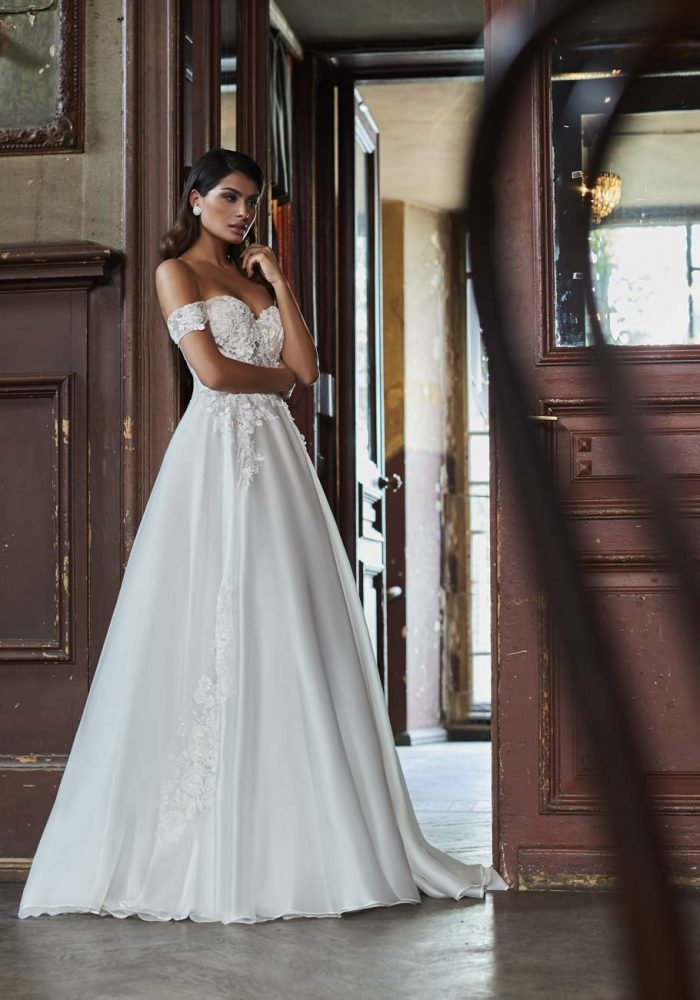 Off The Shoulder Sweetheart Neck A-line Wedding Dress by Maison Signore - Image 1