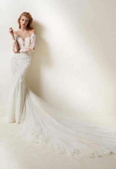 Long Sleeve Off-the-shoulder Lace And Tulle Mermaid Wedding Dress With Dramatic Train by Pronovias