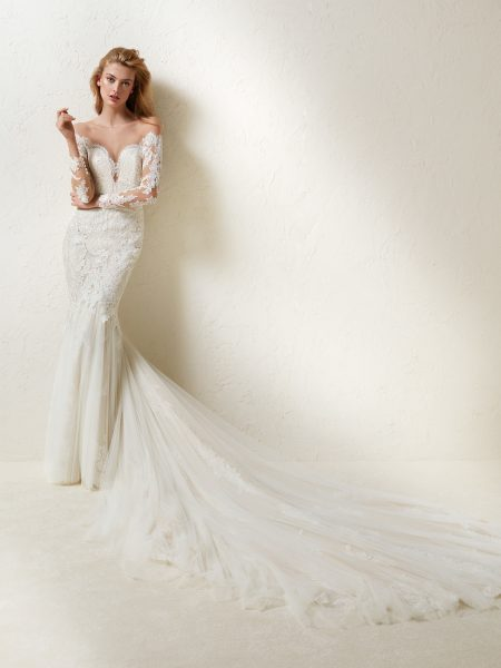 Long Sleeve Off-the-shoulder Lace And Tulle Mermaid Wedding Dress ...