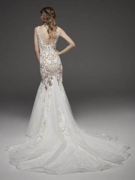 Nude-lined Floral Appliqué Chiffon Mermaid Wedding Dress With Bow At Shoulder by Pronovias - Image 2
