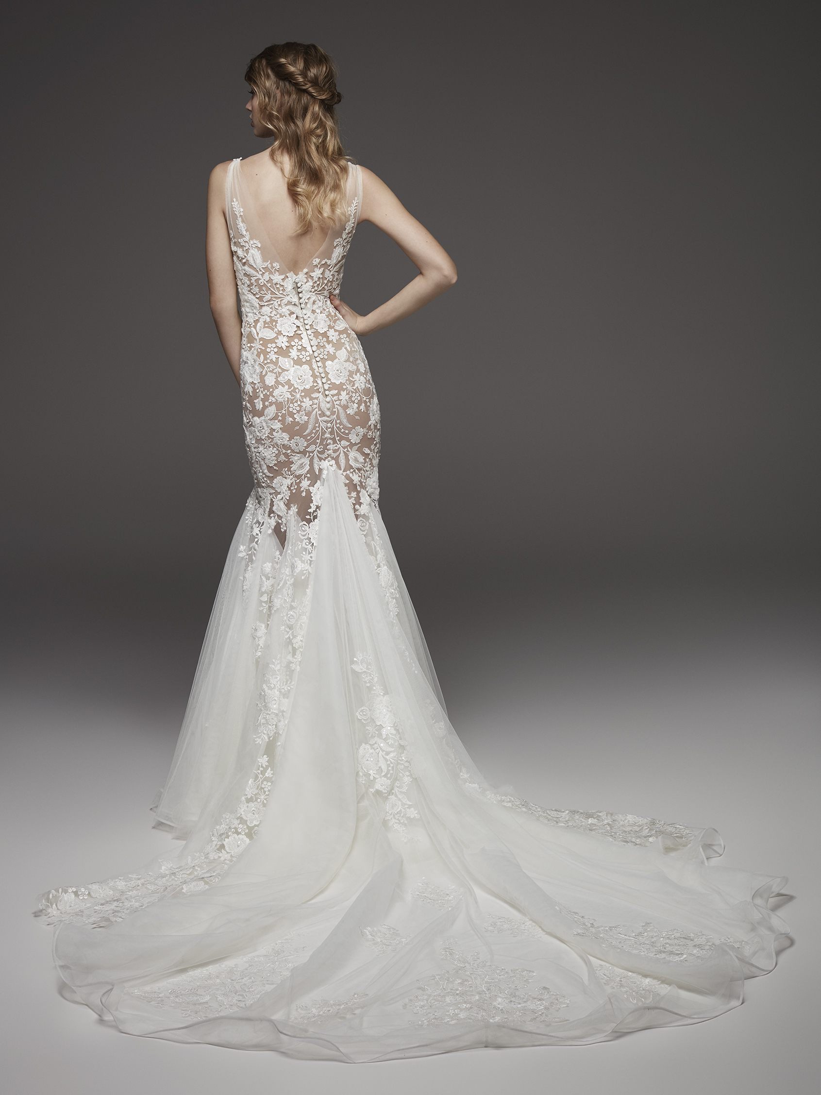 8244b34e5584 Nude-lined Floral Appliqué Chiffon Mermaid Wedding Dress With Bow At  Shoulder | Kleinfeld Bridal