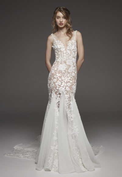 Nude-lined Floral Appliqué Chiffon Mermaid Wedding Dress With Bow At Shoulder by Pronovias