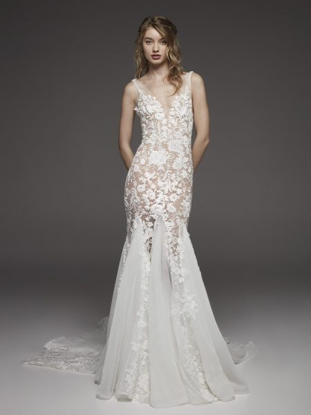 Nude-lined Floral Appliqué Chiffon Mermaid Wedding Dress With Bow At Shoulder by Pronovias - Image 1