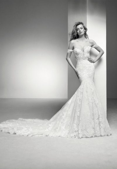 Off The Shoulder Sweetheart Neckline Lace Mermaid Wedding Dress by Pronovias