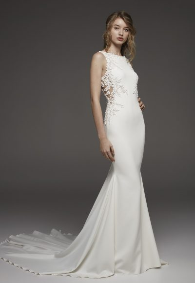 Sleeveless Bateau Neckline Fit And Flare Wedding Dress In Crepe With Floral Appliqués by Pronovias