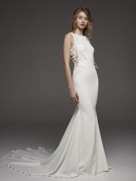 Sleeveless Bateau Neckline Fit And Flare Wedding Dress In Crepe With Floral Appliqués by Pronovias - Image 1