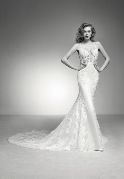 Spaghetti Strap V-neck Lace And Tulle Fit And Flare Wedding Dress With Chapel Train by Pronovias