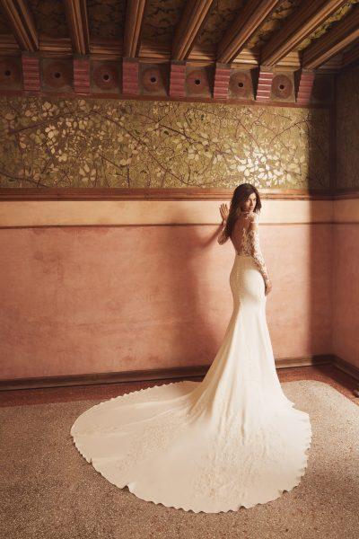 Long Sleeve Illusion Neckline Lace Bodice Sheath Wedding Dress With Crepe Skirt by Pronovias x Kleinfeld - Image 2