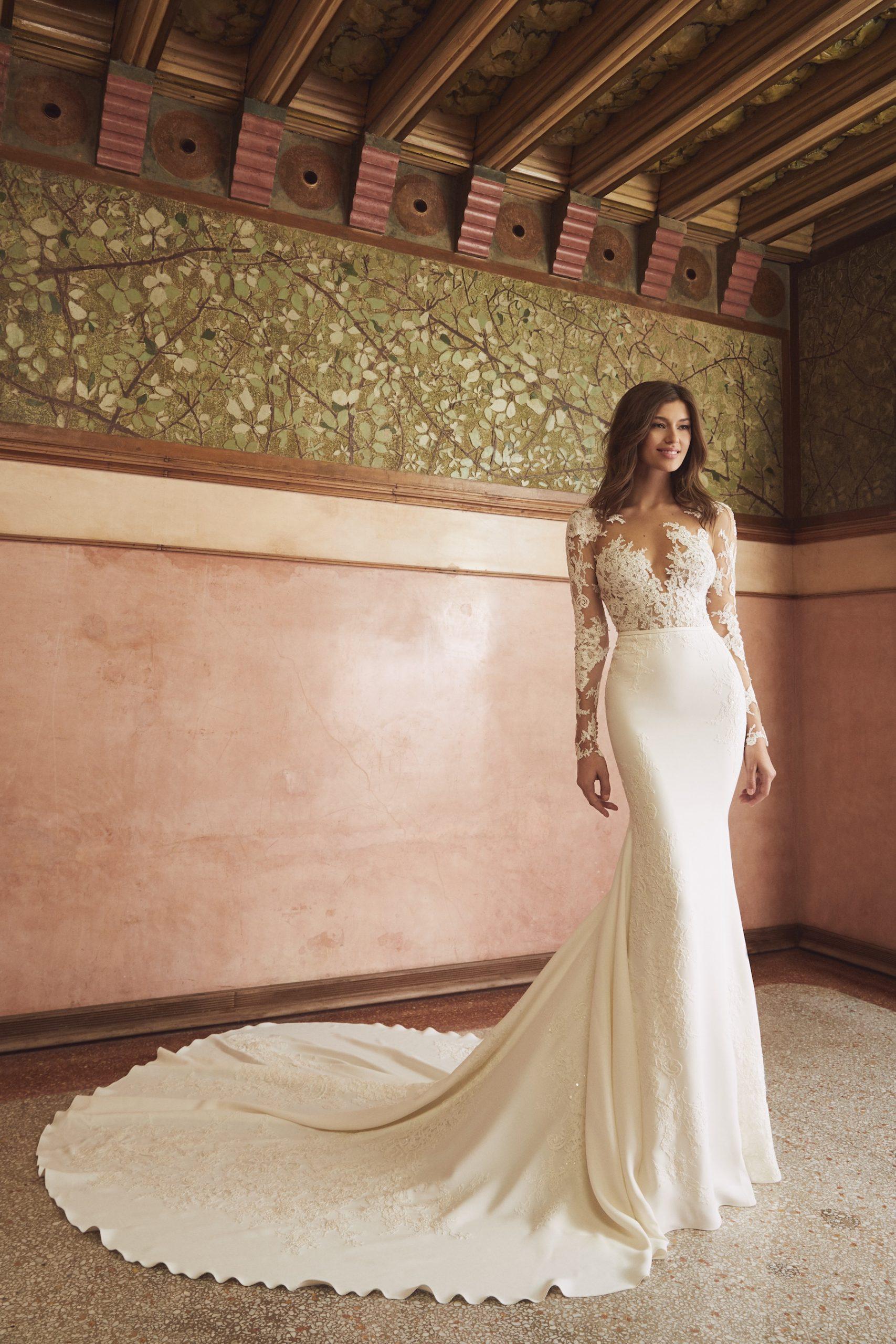 Long Sleeve Illusion Neckline Lace Bodice Sheath Wedding Dress With Crepe Skirt by Pronovias x Kleinfeld - Image 1