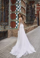 Scalloped V-neckline Sleeveless Lace And Chiffon Fit And Flare Wedding Dress by Pronovias x Kleinfeld - Image 2