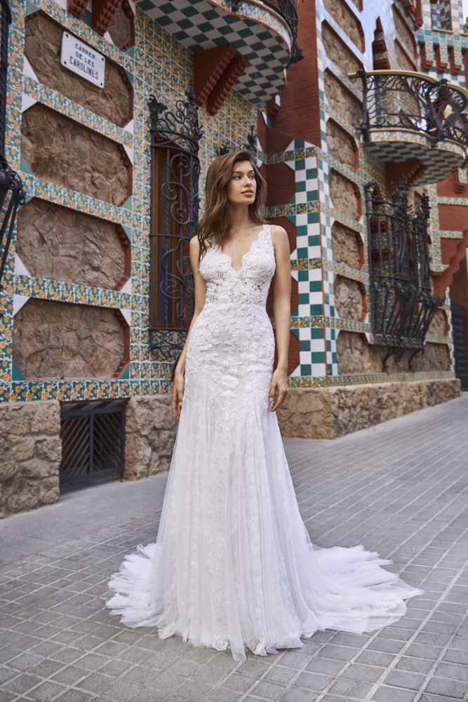 Scalloped V-neckline Sleeveless Lace And Chiffon Fit And Flare Wedding Dress by Pronovias x Kleinfeld - Image 1