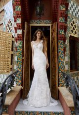 Sleeveless Illusion Neckline Lace And Tulle Fit Anf Flare Wedding Dress With Dramatic Train by Pronovias x Kleinfeld - Image 1