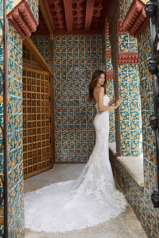 Strapless Sweetheart All-over Lace Fit And Flare Wedding Dress With Chapel Train by Pronovias x Kleinfeld - Image 2