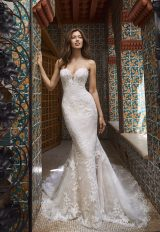 Strapless Sweetheart All-over Lace Fit And Flare Wedding Dress With Chapel Train by Pronovias x Kleinfeld - Image 1