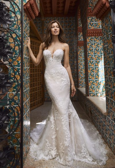 Strapless Sweetheart All-over Lace Fit And Flare Wedding Dress With Chapel Train by Pronovias x Kleinfeld